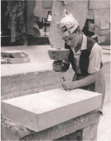 The founder during his masonry apprenticeship